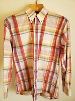 Pendleton Mens Red/Yellow Plaid 100% Cotton Long Sleeve  Button Shirt. Size Med
