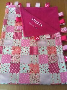 XL PERSONALISED PINK PATCHWORK/PRAM TAGGY BLANKET/GIFT/GIRL