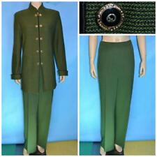 St. John Collection Knits Green Jacket & Pants L 12 10 2pc Suit Buttons Zipper