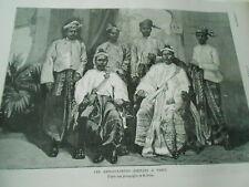 Les ambassadeurs Birmans à Paris Gravure 1883