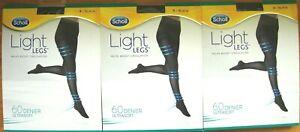 3 X SCHOLL LIGHT LEGS COMPRESSION TIGHTS 60 DENIER BLACK SMALL S