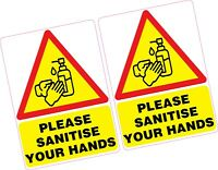 2 x Please Sanitise Your Hands Vinyl Sticker 100x70mm Shop Office Germs Sanitize