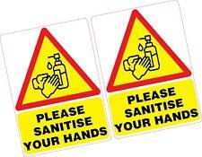 2 x Please Sanitise Your Hands Vinyl Sticker 100x70mm Shop Office Germs Sanitize