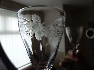 4 Antique Webb Intaglio Etched Crystal Sherry Glasses on High Stem, h14,3  1920