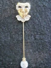 Swarovski Swan Signed Mardi Graus Mask Goldtone Crystal Stick Pin Brooch #775