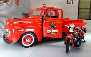 LGB 1:24 Echelle Maisto Feu Moteur 1948 Ford F1 1936 Harley Davidson Camion