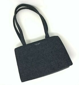 Kate Spade Women's Charcoal Gray Wool Handbag Shoulder Bag Structured Purse