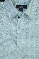 XMI Men's White Black Geometric Print Cotton Casual Shirt M Medium