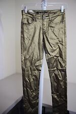 Machine Nouvelle Mode Cotton Blend Gold Non Denim Skinny Leg Jeans Size - 27
