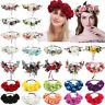 Ladies Flower Crown Headband Wedding Wreath Hair Bands Floral Garland Ribbon New
