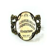 Traditionnal Ouija Spirit Board Antique Bronze Horror Occult Glass Filigree Ring