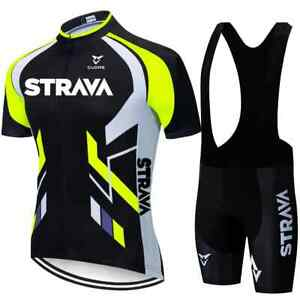 STRAVA Neon Green Cycling Jersey Sets Red Bicycle Short Sleeve Cycling Clothes M