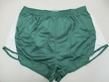 Bill Rodgers Mens Green/White Running Shorts Built-in Briefs Large