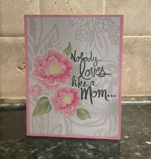"""Stampin Up Peony Mother/'s Day /""""Loves Like A Mom/"""" Handmade Card Kit 4 cards"""
