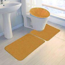 GOLD COLORS BANDED BATHROOM SET BATH MAT COUNTOUR RUG LID COVER PLAIN 3PC #6