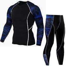 Men Sports suit Gym Compression wear Workout Running Long Pants T shirts Dri fit