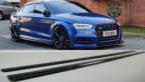 AUDI A3 S3 S-LINE SIDE SKIRTS EXTENSIONS BLADES 16-19 SALOON MODELS BODY KIT.