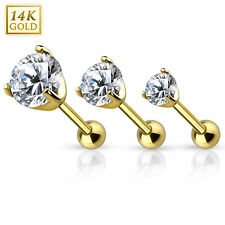 Gold Cartilage/Tragus Barbell - Prong Set CZ Top - 14K Solid Gold - Sold Each