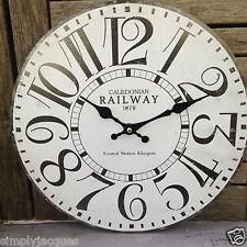 White Wooden Glasgow Railway Wall Clock CALEDONIAN RAILWAY. 33cm