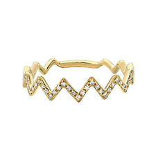 Zag Stackable Right Hand Ring 0.10Ct 14K Yellow Gold Finish Round Diamond Zig