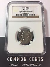 1958 D Jefferson Nickel MS 66 NGC Highland Collection SKU#4012