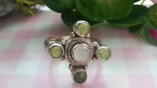 Silver 925 *Size 6 , 7 *Y018 Beautiful New Green White Gems Compass Ring