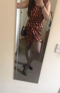 Ax Paris Leopard print Sexy Mini Dress Uk 12