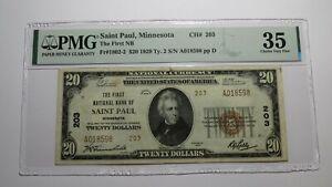 $20 1929 Saint Paul Minnesota MN National Currency Bank Note Bill #203 VF35 St.
