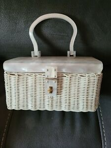 Vintage Marcus Brothers Celluloid Lucite White Woven Purse