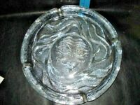 "11"" Vintage BLENKO Clear Glass Crystal Sun Face Ashtray Heavy"