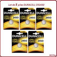 Set von 5 Knopfbatterien CR2450 Lithium Duracell