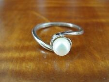 Silver 925 Ring Size 5 1/2 Vintage Avon Faux Pearl Band Sterling