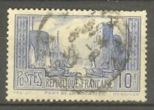 "FRANCE STAMP TIMBRE N° 261b "" PORT LA ROCHELLE 10F OUTREMER PALE "" OBLITERE TB"