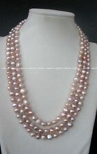 """3rows freshwater pearl baroque purple necklace 20-22"""" wholesale nature amazing"""