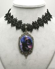 Nene Thomas Cameo Choker Necklace Dark Skies Fairy Bl 00004000 ack Dress Feather Wings New