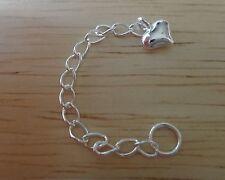 "Sterling Silver 4.5 cm 1.75"" Puffy Heart Extension Bracelet Chain w/ split ring"