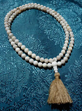 Traumhafte MALA Gebetskette mit weißem Augenachat Achat Heilstein NEPAL 7,5mm