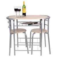 OAK 3 PIECE DINING TABLE AND 2 CHAIR SET BREAKFAST KITCHEN BISTRO BAR