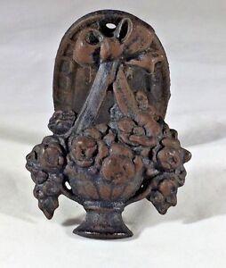 Flower Basket Door Knocker Beautiful Vintage Cast Iron Floral Bow Detail