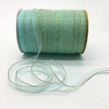 "10yards 3/8"" 10mm Cyan Glitter Golden Rimmed Organza Ribbon Lace Crafts"