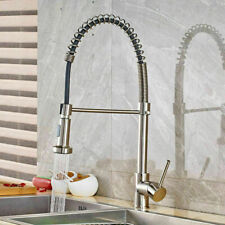 Brushed Nickel Kitchen Faucet Sink Swivel Spring Deck Mounted Mixer Tap