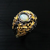 Natural Opal 925 Sterling Silver Ring Size 8/RR17-1200