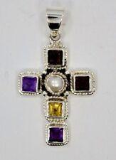 925 - Sterling Silver multi - Gemstone Cross Pendant