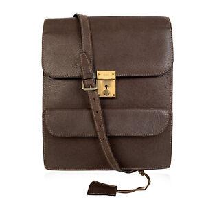 Authentic Gucci Vintage Brown Leather Shoulder Bag Men Purse