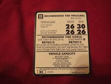 1975 1976 1977 CHEVROLET MONZA BR78x13 BR70x13 TIRE PRESSURE SPECS DECAL