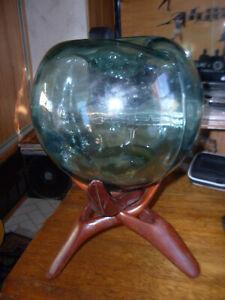 """Large 9"""" Diameter Vintage Bi-mold Aqua Fishing Float with indented pontil /stand"""
