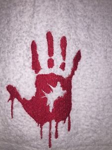 Embroidered Cotton Bathroom Hand Towel  Bloody Hand Print HS0562