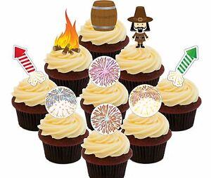 Bonfire Night - 36 Edible Cupcake Toppers, Fairy Cake Bun Decorations Fireworks