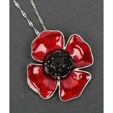 Equilibrium Silver Plated Long Necklace With large Poppy Pendant Jewellery Gift
