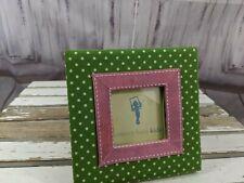 Pottery Barn Kids Picture Frame Square Green Pink Polka Dot Girls Bedroom Decor